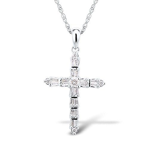 Diamond Cross Necklace in Rhodium Plated 10k White Gold with Chain (.45 cttw, HI, I2-I3)