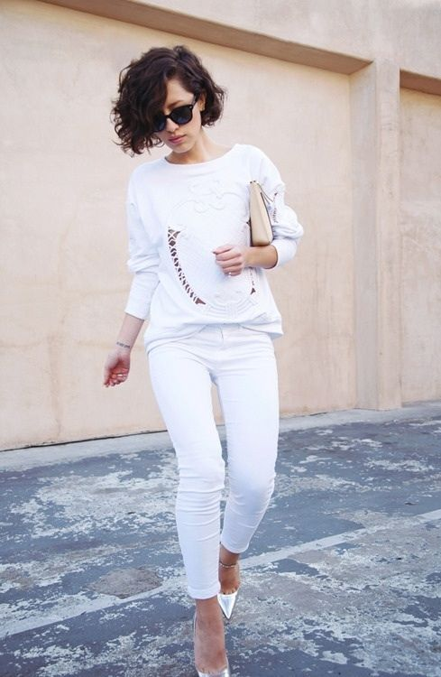 28 Dreamy All-White Outfits #9:  A white crew neck sweater, white denim, and great satiny pointed toe ankle strap heels.  Ready for Spring....