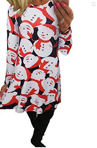 d065a625a62 Hoverwings Robe de Noël Manches Longues Femme Fille Imprimé Bonhomme de neige  Père Noël Tunique Mini