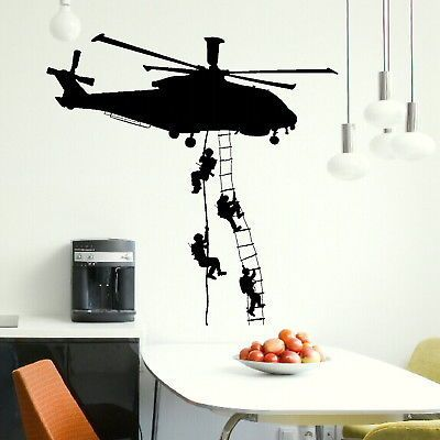 Helicopter army sticker adhesive vinly wall art for boys bedroom huge marines wall stickers - Deco hangende toilet ...