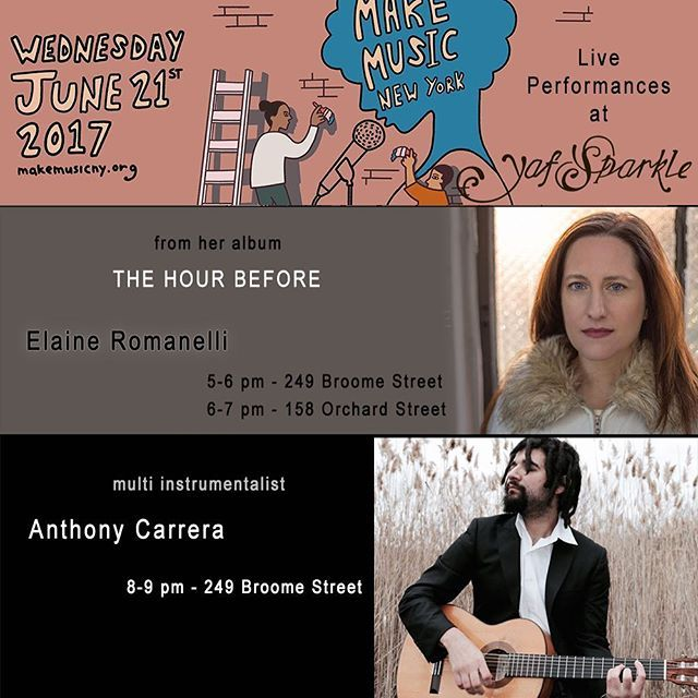 """We are super excited to host various performers this Wednesday when @makemusicny will drench all 5 boroughs in handmade sound. Elaine Romanelli will play Songs from her first Studio Album """"The hour before"""" in both our locations. It is an album that is truly a dream come true, made possible by a successful Crowdfunding campaign. Multi Instrumentalist Anthony Carrera will bring his world music to the streets, we are curious to see whether he brings the sitar, a piano, a flute or his guitar to…"""