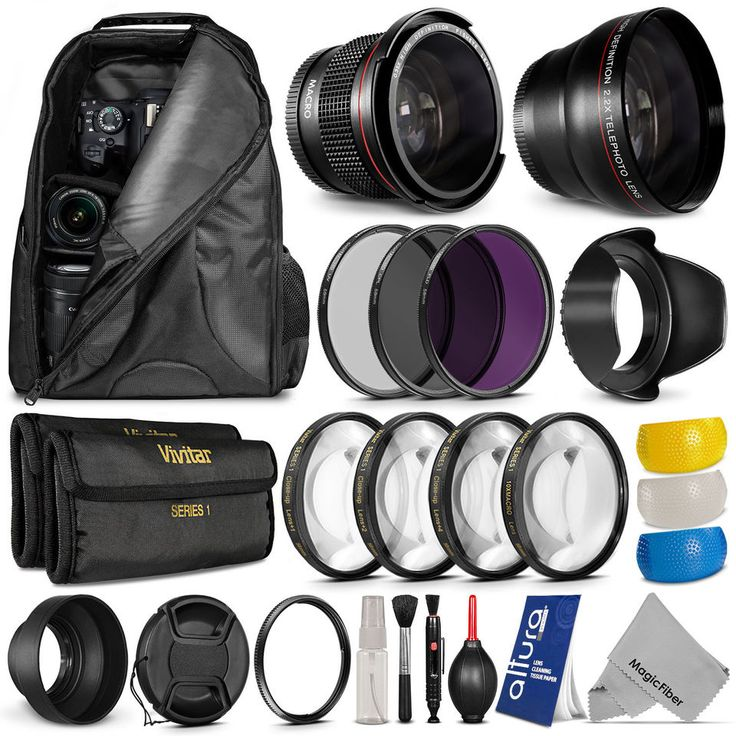 58mm Lens Filter Kit w/ Backpack Diffuser Hood for Canon PowerShot SX60 SX50 HS