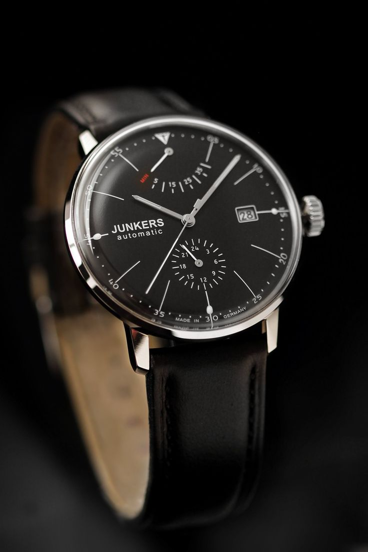 Junkers Men's Automatic Watch with Black Dial Analogue Display and Black Leather Strap 60602: Amazon.co.uk: Watches