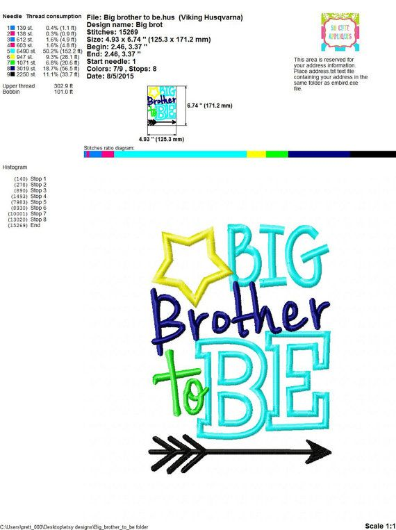 Embroidery design 5x7 6x10 Big Brother to Be by SoCuteAppliques