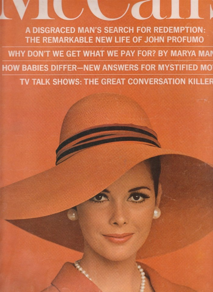 BARBARA CLEMENT.  McCall's July 1965.  Foto:Otto Storch.  Hat:Mr.John.  Jewelry:Laguna.