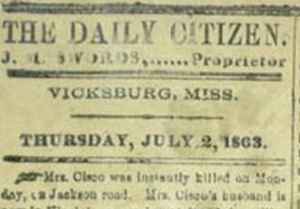 As Gen. Grant besieged Vicksburg in June and July, 1863, the town's Daily Citizen newspaper ran out of newsprint and was printed on wallpaper. #CivilWar
