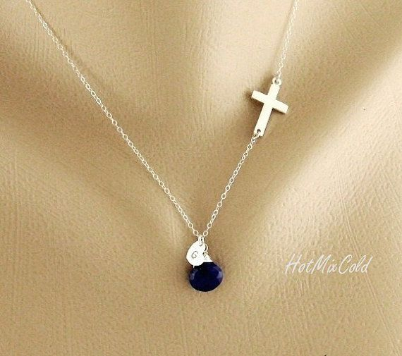 Personalized Monogram Sideways cross Necklace door hotmixcold, $43.00