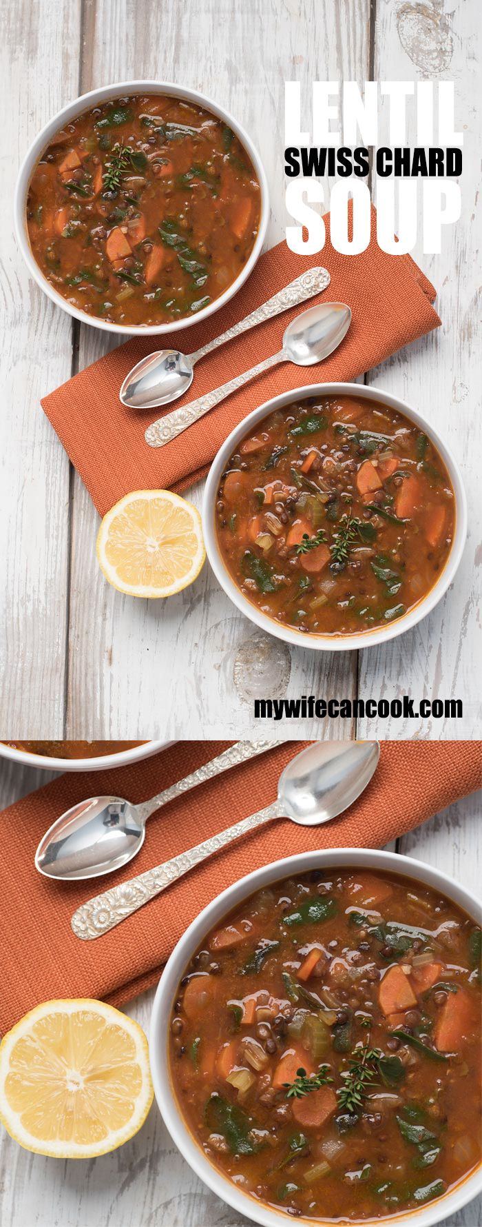 Easy Swiss Chard Lentil Soup Recipe. This recipe is vegan, gluten-free, and was made in our Instant Pot!  You'll be impressed at how much goodness is packed into one bowl.  It's the perfect meal for a cold day. And, it's definitely a great meal to get your eating back on track if you have strayed from healthy eating habits. And have you heard about the Instant Pot?