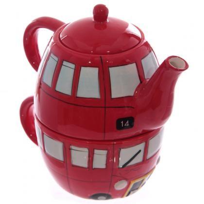 Keramická konvička a hrníček Londýnský autobus, set pro 1 osobu #DoubbleDecker #teapot #set #giftware