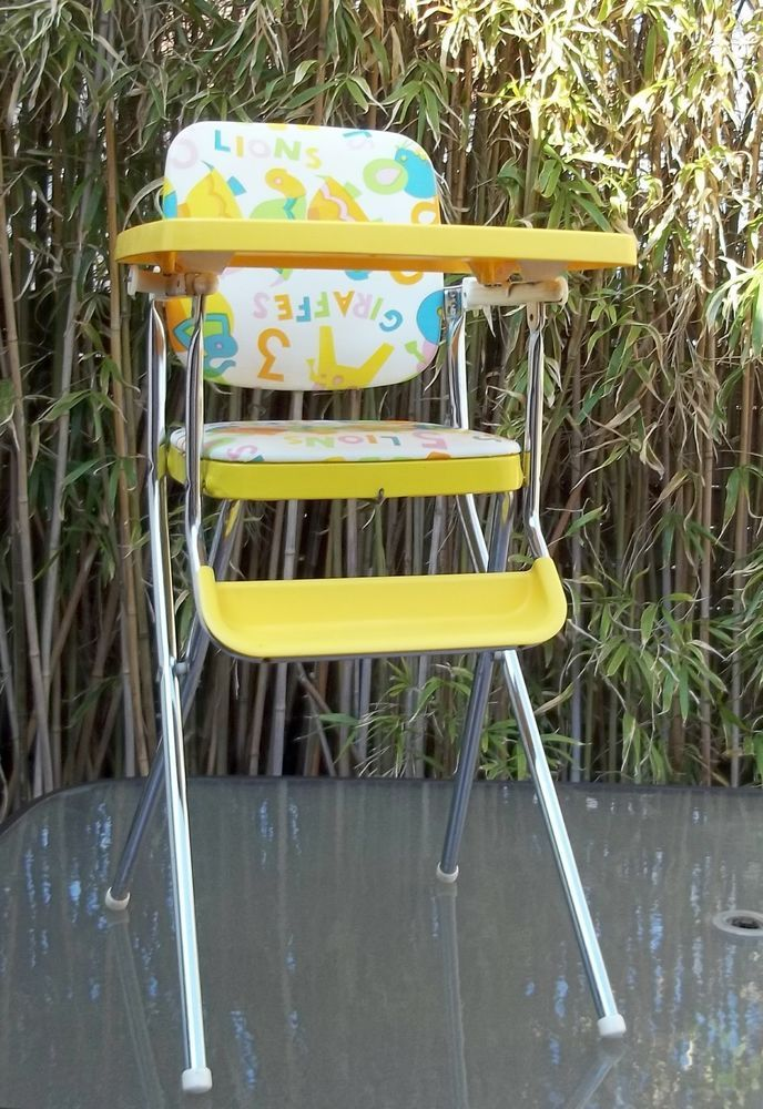 Vintage 1960 s Baby Fold Up Yellow High Chair with Chrome Legs