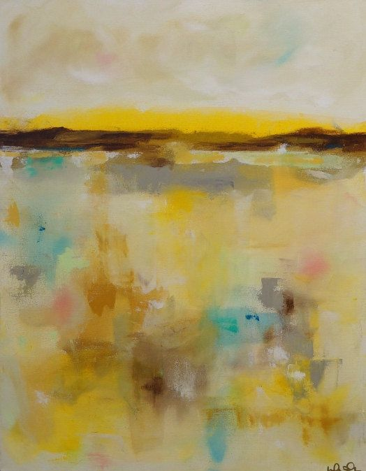 Yellow Abstract Landscape Original Acrylic Painting -Summer Yellows 22 x 28