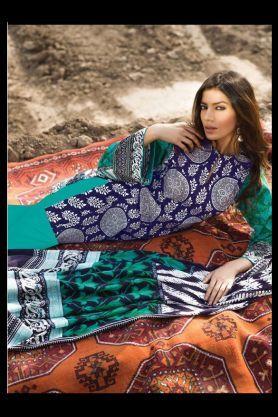 Pashmina Pakistani Green Multi-Color Printed Suit With Pashmina Shawl
