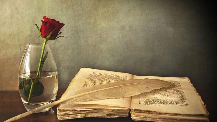 ваза, Книга, роза, перо, стол, старая, красная