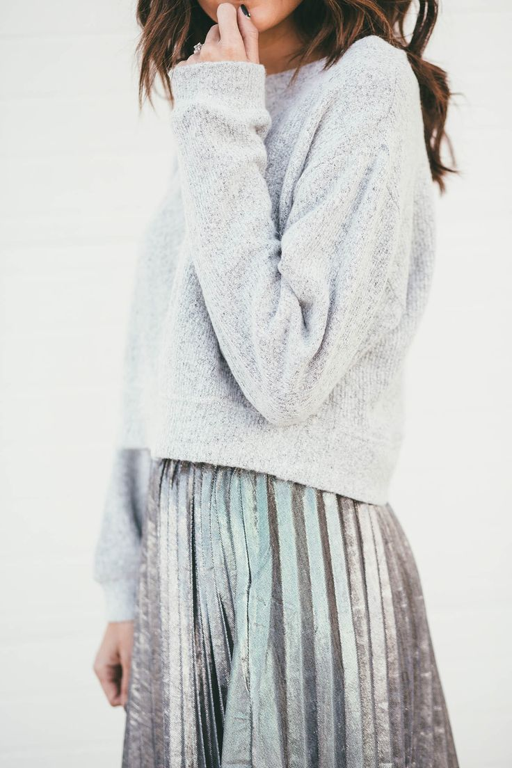 Grey Sweater Perfection with Silver Pleats
