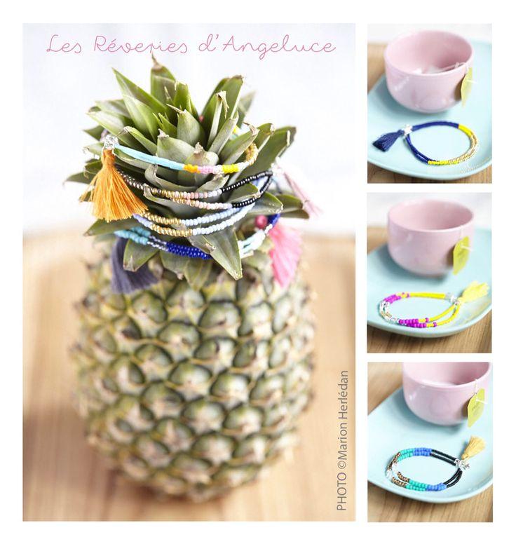 Les Rêveries d'Angeluce Bracelets doubles perles et pompon