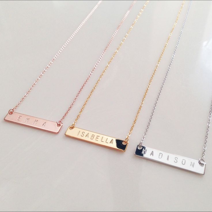 """STAMPING: Character limit: 20 (including spaces) Character size: 4mm uppercase SIZING: Bar: approx. 1.25"""" Chain with clasp: 17.5"""" *Includes one necklace* **Please specify custom text in the notes sect"""