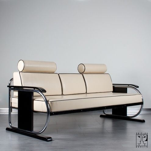 """Art Deco sofa/daybed - ZEITLOS – BERLIN.  STYLE:Art Déco MATERIAL: chrome-plated tubular steel, leather upholstery, stained wood. YEAR: 1935 CONDITION:refurbished DIMENSIONS: h.: 77 cm x  w.: 195 cm x d.: 85 cm PRICE: 4200 €. Uniquely restored in cooperation w/ """"a membe of"""" the Bauhau Archive"""