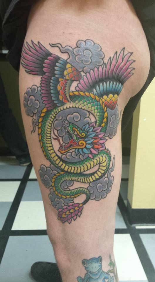 Quetzalcoatl full color tattoo - Artists: Joe Breitenbach at Alliance Tattoos in…