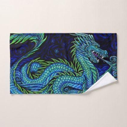 Chinese Azure Dragon Bath Towel Set Blue Gifts Style