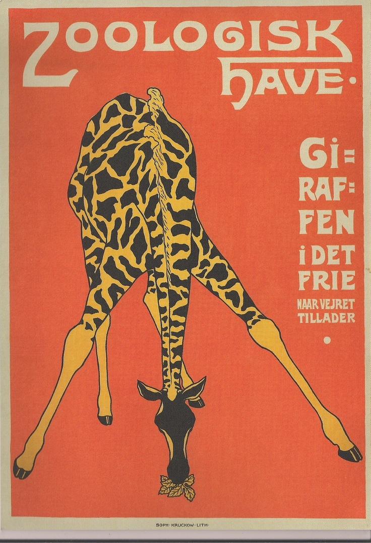 Zoo poster design - Copenhagen Zoo Poster Showing The Zoo S First Giraffe Mimi Artist Unknown