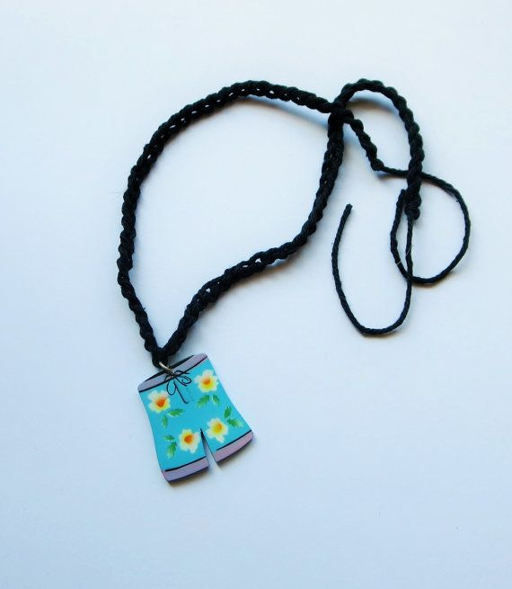 BLUE Beach Shorts Necklace Crochet Chain and Pendant by TiStephani