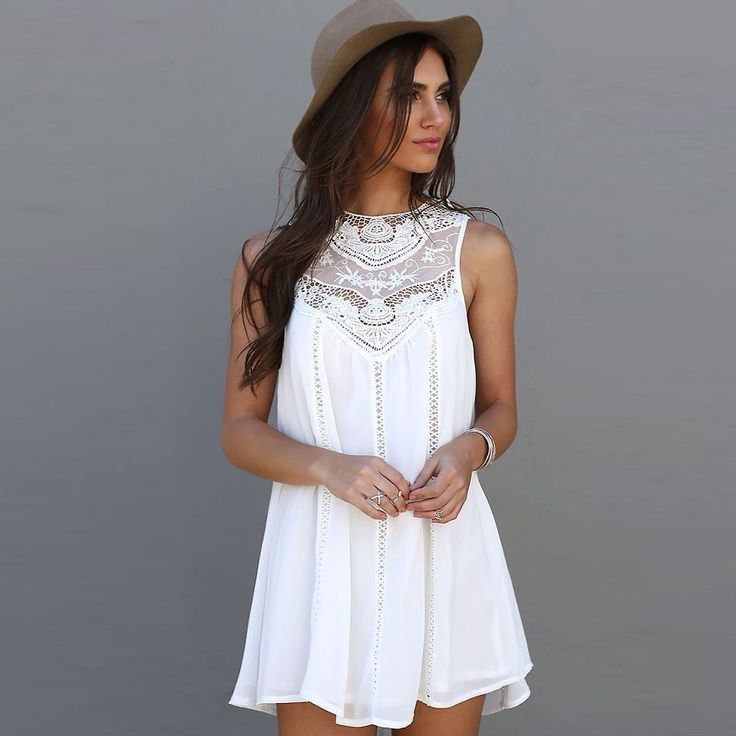 Fashion Tassel Solid White Mini Lace Dress Summer Dress 2016 Sexy Women Casual…