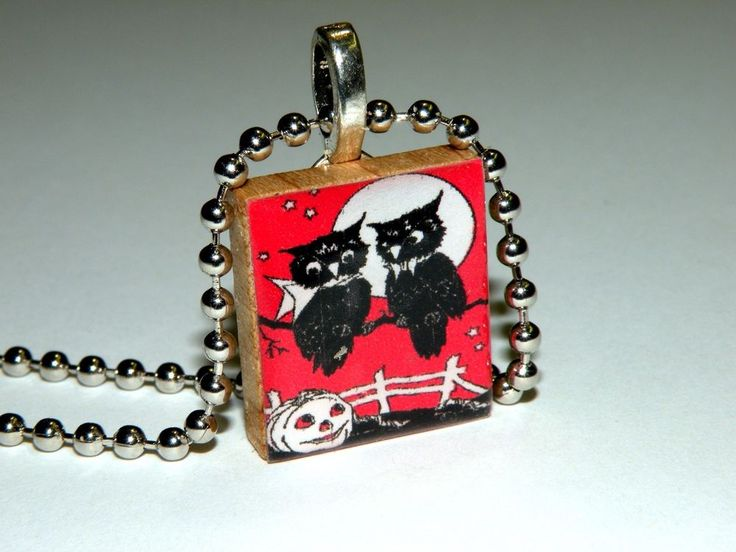 NEW! Two Halloween Owl Scrabble Tile Necklace By HArtworks  #Hartworks #Chain