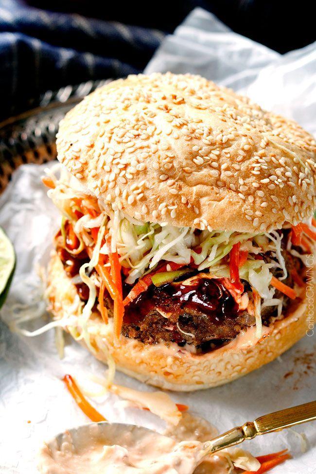 nice Asian Burger with Hoisin Ketchup & Garlic Chili Mayo