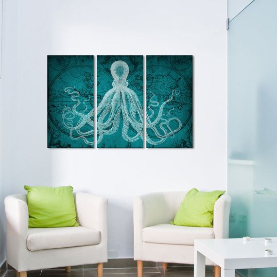 A teal octopus gallery wrapped triptych set. The artwork is on matte finish canvas. The canvas is water resistant, acid free and designed for long-term, fade resistant fine art & photo reproductions. This beautiful artwork will be the perfect addition to your nursery and home. To life a rooms mood right away, simply frame and hang it on your home anywhere. Cheerful colors make you hapopy everytime when you look over or pass by.  ♦ Size: Choose a size from the drop down tab above. (1.5 inc...