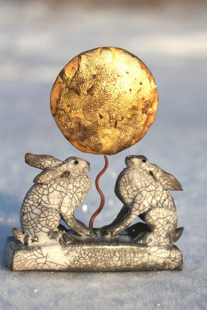two hares and golden moon by Joe lawrence art work, via Flickr