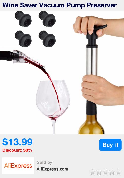 Wine Saver Vacuum Pump Preserver and Wine Aerator Pourer Decanter with 4 Vacuum Bottle Stoppers Wine Accessories Set Bar Tools  * Pub Date: 20:22 Sep 11 2017
