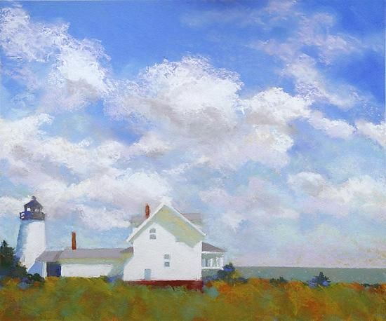 Archival pigment print on 100% rag paper, signed and numbered by the artist. Print is made from an original pastel painting of Pemaquid Light in Maine | Author: Suzanne Siegel