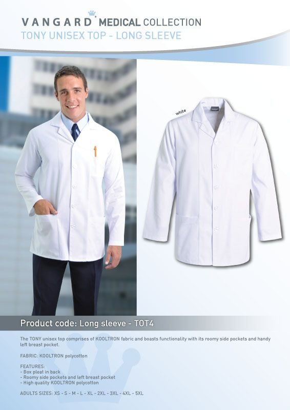 The TONY unisex long/Short sleeve Doctors Coat is made from KOOLTRON fabric to support breathability and boasts functionality with its roomy side pockets and handy left breast pocket.    Features:  Box pleat in back Engraved VANGARD buttons Roomy side pockets and left breast pocket ADULT SIZES: 3XS - 2XS - XS - S - M - L - XL - 2XL - 3XL - 4XL - 5XL We can embroider your clinics logo onto these lab coats