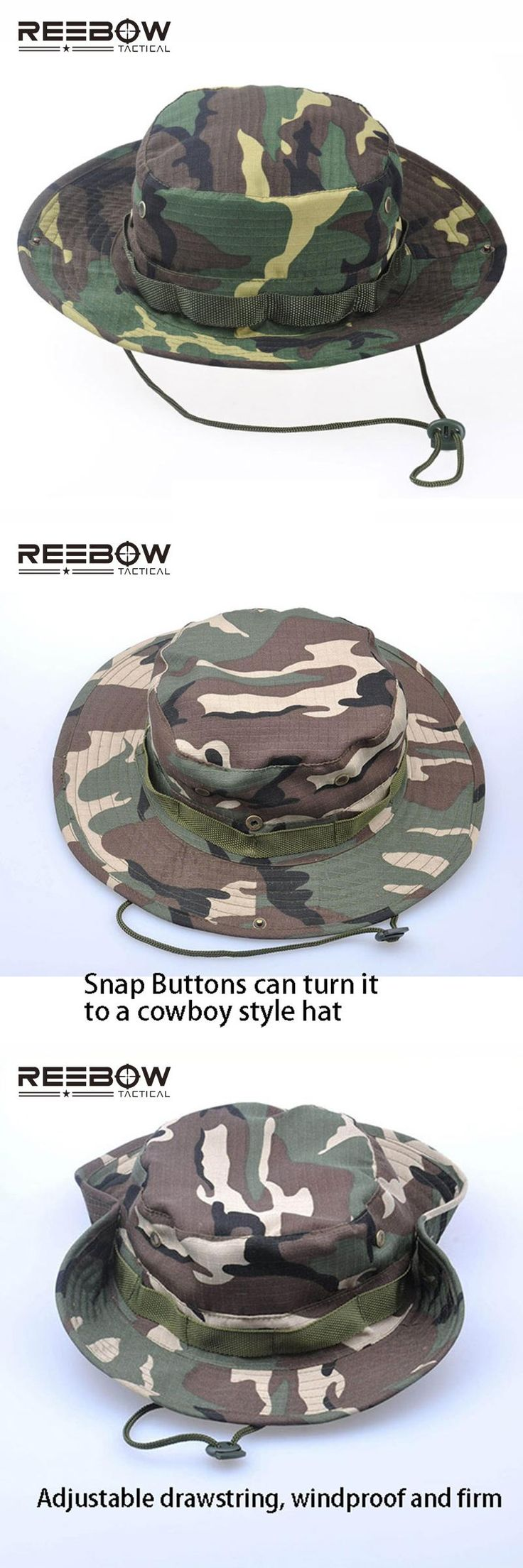 [Visit to Buy] REEBOW Tactical Boonie Hat Military Men Women Outdoor Travel Camouflage Bucket Hat Army Training Mountaineering Army Train #Advertisement
