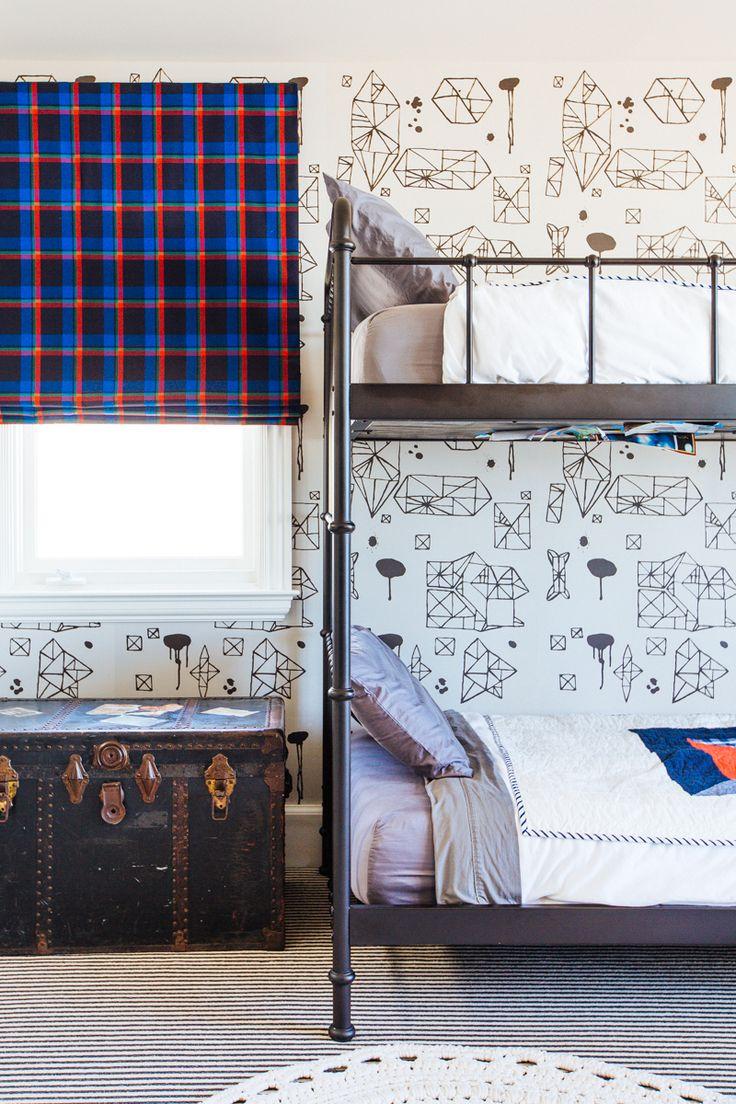 Megan Tagliaferri from FLO design studio's Long Beach Home #kids #bedroom #bunkbeds #patterns #wallpaper #textures #design #gold #accents #accessories #midcentury #color