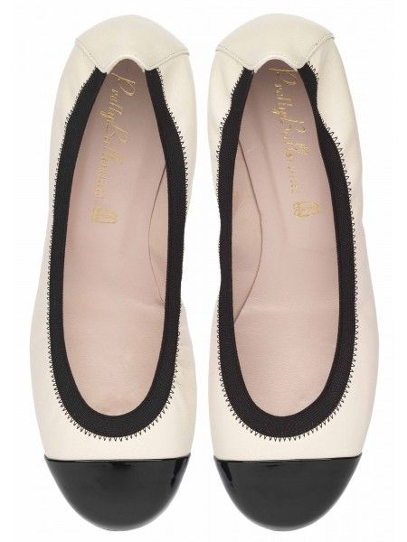 """THE COLORBLOCK FLATS"" PRETTY BALLERINA- SHIRLEY SOFT IVORY LEATHER WITH BLACK PATENT TOE AND ELASTIC"