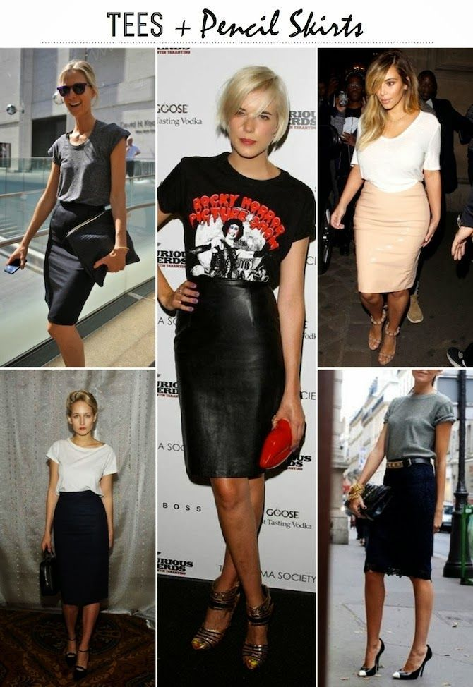 Tees + Pencil Skirts. It's a tricky trend, but done right is fabulous!