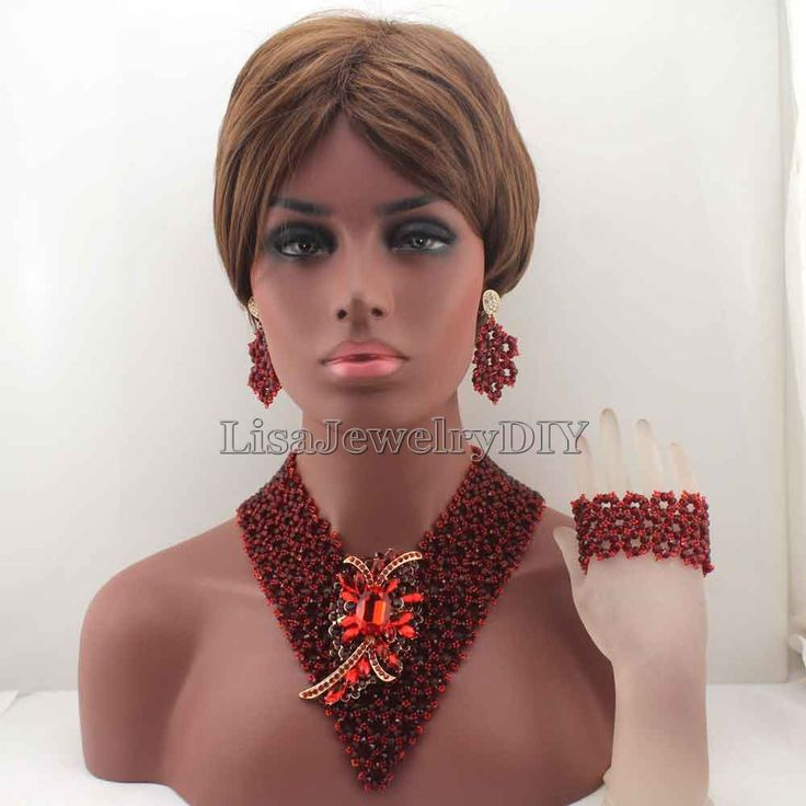 Fashion African Garnet Necklace Set for Women Handmade Crystal Bridal Jewelry Set Chunky Events Jewelry Free shipping HD8268