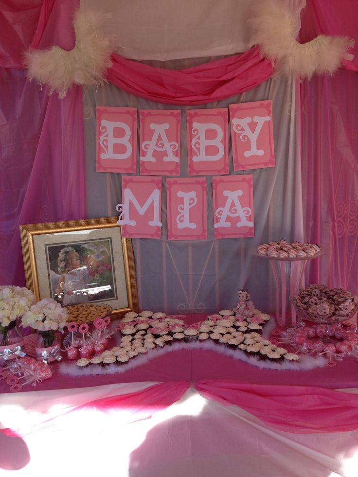 Angel themed baby shower goddess cherub baby shower for Baby shower decoration ideas pinterest