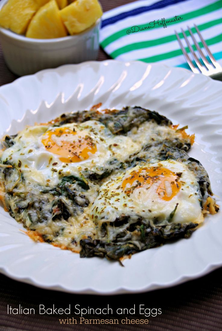 Italian Baked Spinach with Parmesan Cheese  is an easy egg recipe that is healthy and delicious!