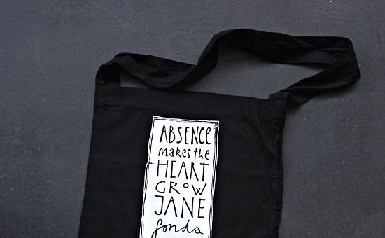 Absence makes the heart grow Jane Fonda #thedrawingarm #totebag #branding #typography #thenationalgrid #design
