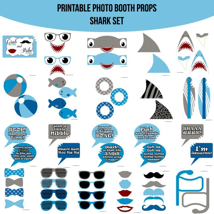 Instant Download Shark Jaws Inspired Printable Photo Booth Prop Set