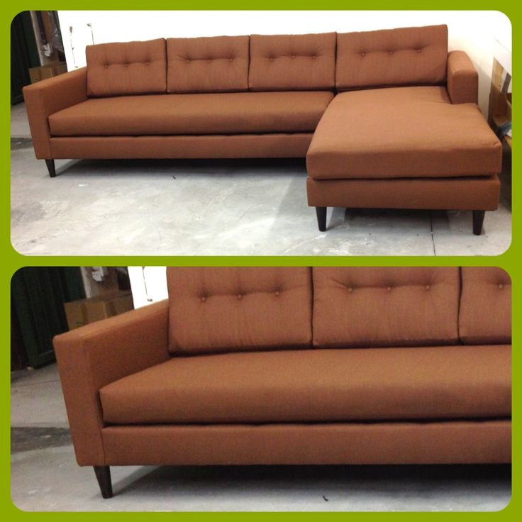 Brown Mid Century Modern Sectional Chesterfield Tufted Leather Sofa Custom Made Vintage