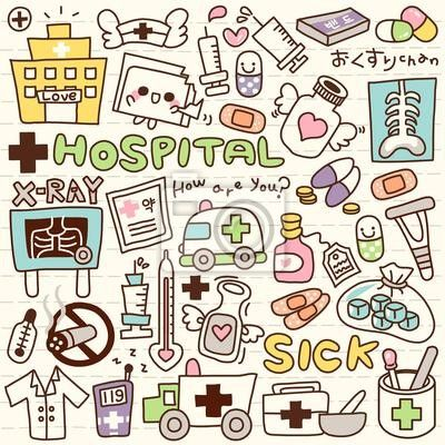 """Wall Mural """"cube, vector, object - cute doodle hospital"""" ✓ Easy Installation ✓ 365 Day Money Back Guarantee ✓ Browse other patterns from this collection!"""