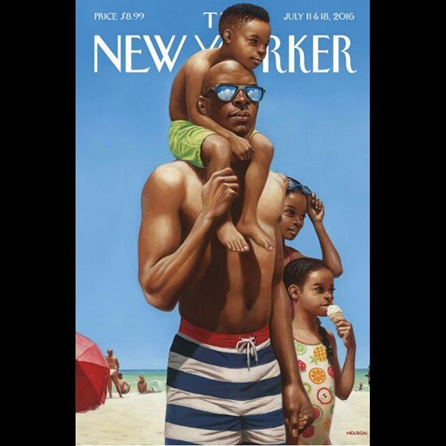 Powerful artwork! #FineArtFriday regram @juveeproductions Check out this amazing painting by @kadirnelson on the cover of @newyorkermag. #BlackFatherhood