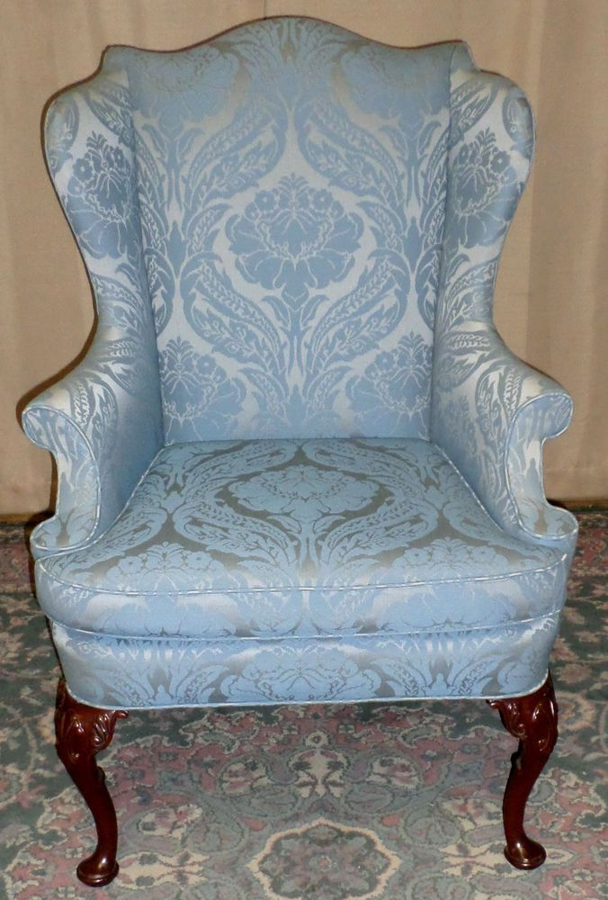 GORGEOUS Hickory Chair Damask Upholstered Queen Anne Style Wing Back Chair QueenAnne