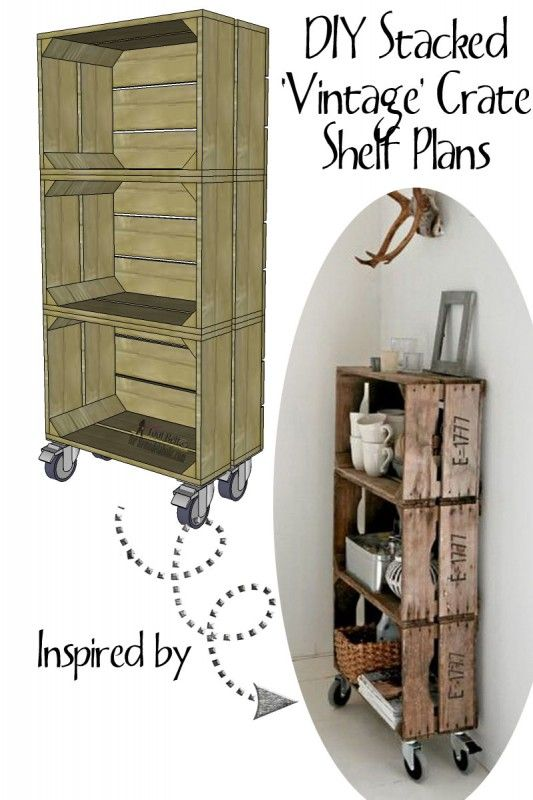 Love the look of vintage crates?  Build DIY 'vintage' crates to make a stacked crate shelf on wheels. @Remodelaholic
