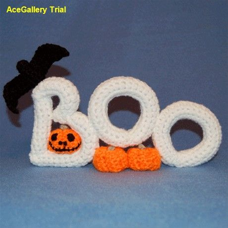 crochet pattern - halloween 'boo'