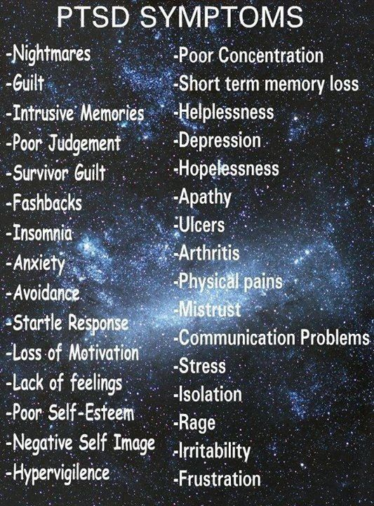 PTSD Symptoms. It's not just soldiers who get it. Some of us went through a different hell to get it.