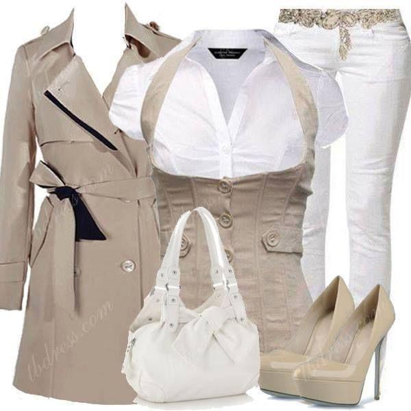 Biege & white , www.lolomoda.com